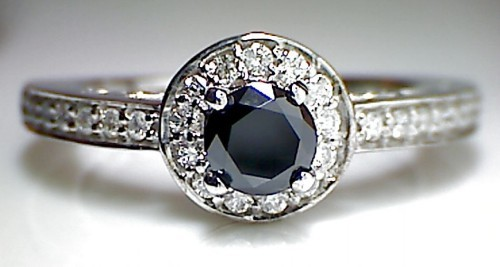 Black Diamond Ring 1.66 Carat Solitaire Engagement Rings Round Shape Solid Gold