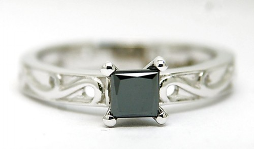 Enhanced Black Diamond 1.60 Carat Solitaire Diamond Ring Princess Cut Solid Gold