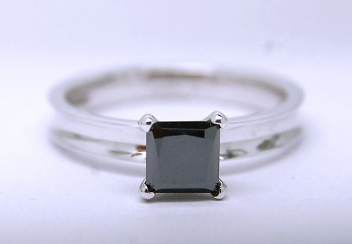 Artistry Black Diamond 1.24 Carat Solitaire Ring Princess Cut Solid Gold