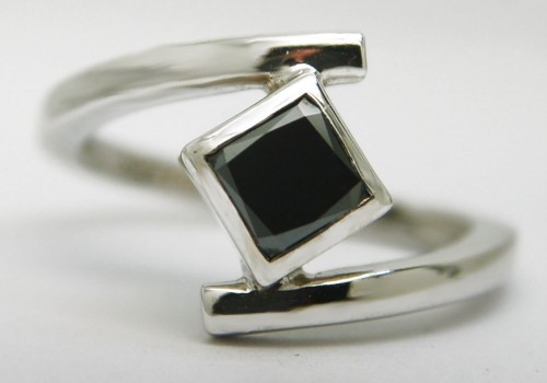Black Diamond Rings 1.53 Carat Solitaire  Engagement Princess Cut Solid Gold