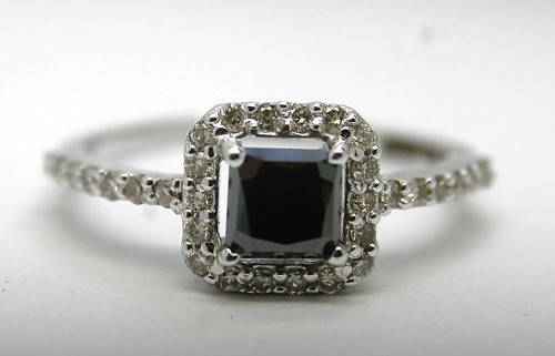 Black Stone 2.45 Carat Diamond Solitaire Ring Princess Cut Solid Gold