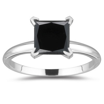 Single Diamond  1.69 Carat Solitaire Black diamond Ring Solid Gold