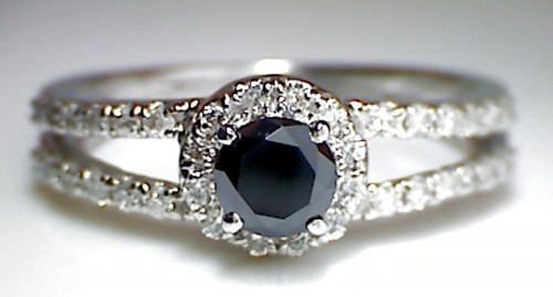 Black Stone 2.37 Carat Black Diamond Solitaire Ring Solid Gold