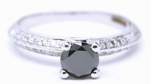 Single Black Diamond Ring 1.39 Carat  Solitaire Diamond For Anniversay Solid Gold