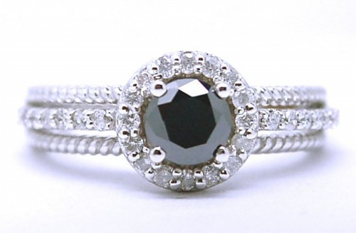 Black Stone 2.93 Carat Solitaire Black Diamond Ring wz Accent Solid Gold