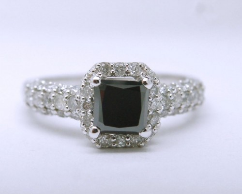Enhanced Black Diamond 2.84 Carat Engagement Rings Solitaire Princess Cut Solid Gold