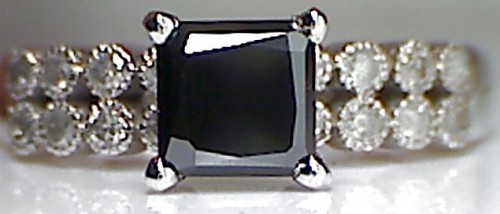 Artistry Black Diamond 2.89 Carat Diamond Solitaire Ring Princess Cut Solid Gold