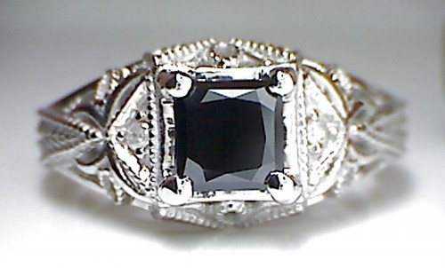 Cheap Black Diamond 1.38 Carat Solitaire Diamond Ring Princess Cut Solid Gold