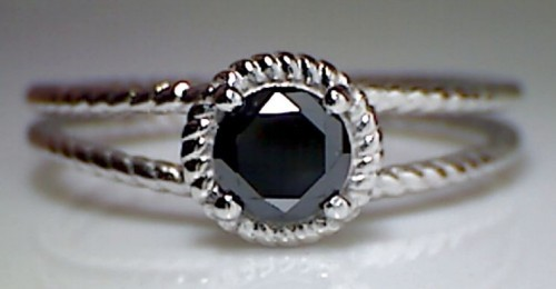 Black diamond Wedding Rings 1.60 Carat Solitaire wz Accent Wedding Solid Gold