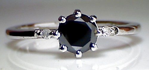 Black Diamond Rings 1.55 Carat Solitaire Black Diamond Round Shape  Solid Gold