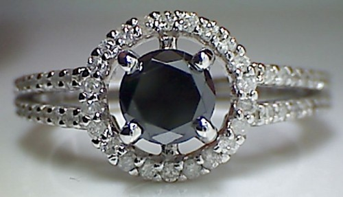 Enhanced Black Diamond 1.98 Carat Solitaire Diamond Ring Solid Gold