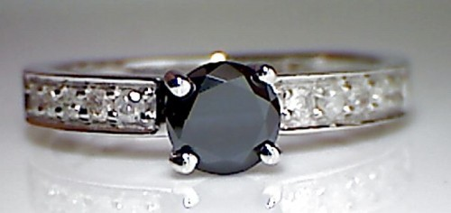 Black Diamond 1.97 Carat Solitaire Diamond Ring Round Cut Solid Gold
