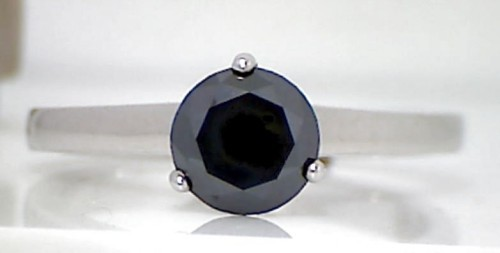 Black diamonds Ring 1.15 Carat Single Solitaire Diamond  Solid Gold