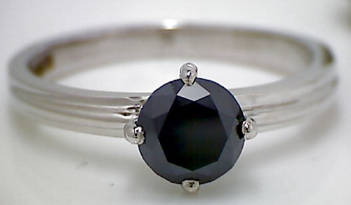 Artistry Black Diamond 1.56 Carat Single Solitaire Ring Solid Gold