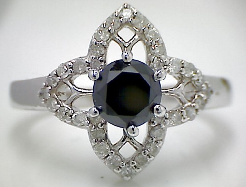 Black Diamond 2.08 Carat Solitaire Black Diamond Ring Solid Gold