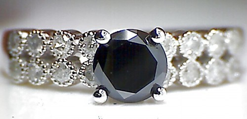 Black diamond Ring 1.62 Carat Solitaire With Accents Round Shape Solid Gold