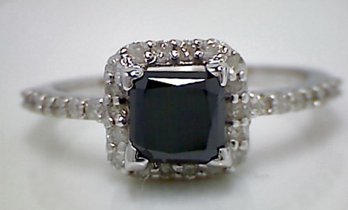 Enhanced Black Diamond 2.06 Carat Engagement Ring Solitaire Solid Gold