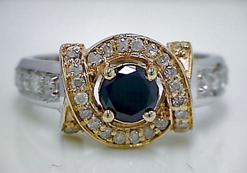 Artistry Black Diamond 1.70 Carat Diamond Solitaire Ring Solid Gold