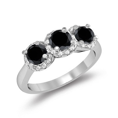 Artistry Black Diamond 3.96 Carat Solitaire With Accents Ring Solid Gold