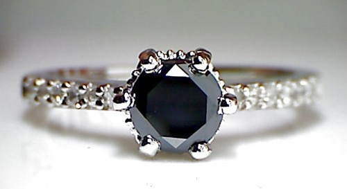 Black Diamond Rings 1.83 Carat Solitaire Diamond Round Shape Solid Gold