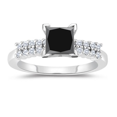 Enhanced Black Diamond 2.65 Carat Princess Cut Solitaire Engagement Rings  Solid Gold