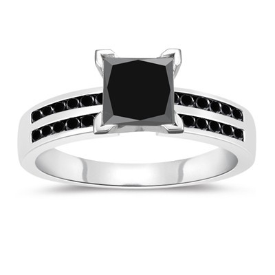 Cheap Black Diamond 2.13 Carat Solitaire Diamond Ring Princess Cut Solid Gold