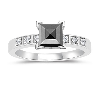 Black Stone 3.56 Carat Princess Cut Solitaire Diamond With Accents Ring Solid Gold