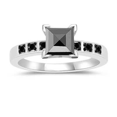 Black Diamond 2.72 Carat Solitaire Engagement Rings Princess Cut Solid Gold