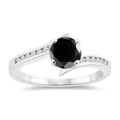 Artistry Black Diamond 1.71 Carat Black Solitaire Ring wz Accent Solid Gold