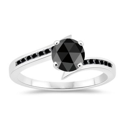 Black diamond Wedding Rings 3.23 Carat Solitaire Diamond With Accents Solid Gold