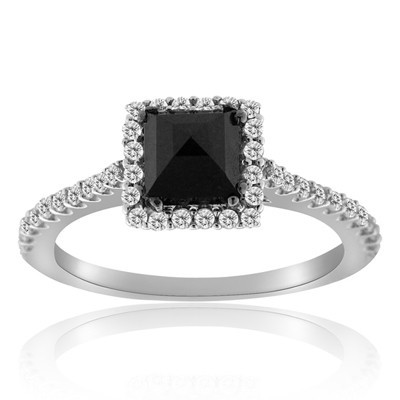 Cheap Black Diamond 1.80 Carat Solitaire  Engagement Rings Princess Cut Solid Gold