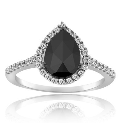 Black diamond Wedding Rings 3.75 Carat Diamond Solitaire Pear Cut Solid Gold