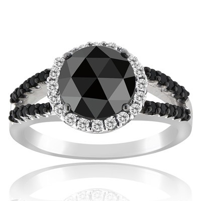 Black Diamond Rings 3.19 Carat Solitaire Diamond Wedding Anniversary Solid Gold