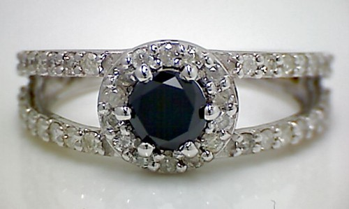 Black diamond Wedding Rings 2.10 Carat  Solitaire wz Accent Solid Gold