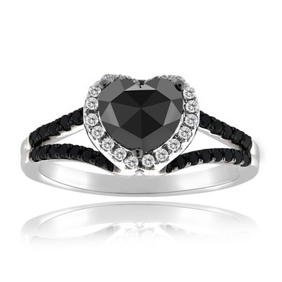 Black Stone 2.32 Carat Solitaire Black Diamond Ring wz Accent Heart Cut Solid Gold