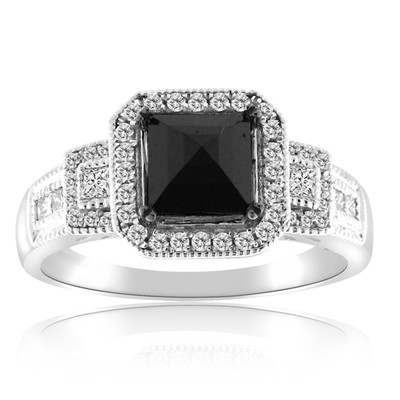 Cheap Black Diamond 3.26 Carat Solitaire Diamond Ring Princess Cut Solid Gold