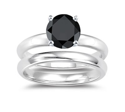 Black Stone 1.70 Carat Solitaire Diamond With Accents Ring Solid Gold