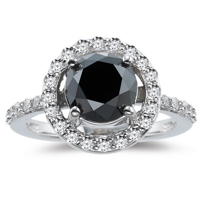 Black diamond Wedding Rings 2.08 Carat Solitaire With Accents Solid Gold