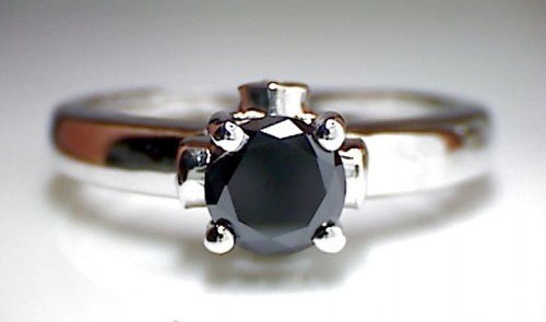 Black Stone 1.73 Carat Solitaire Diamond With Accents Ring Solid Gold