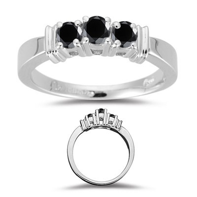 Artistry Black Diamond 2.94 Carat  Solitaire With Accents Ring Solid Gold