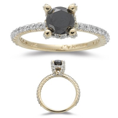 Black diamonds Ring 1.64 Carat Solitaire With Accents Wedding Anniversary Solid Gold