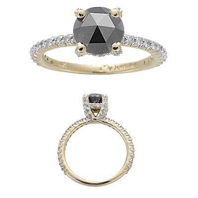 Enhanced Black Diamond 1.48 Carat Solitaire Engagement Rings Solid Gold