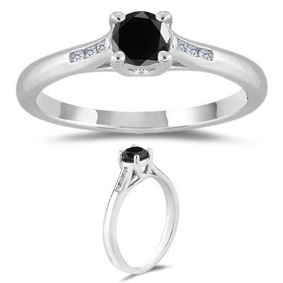 Artistry Black Diamond 0.87 Carat Diamond Solitaire Ring Solid Gold