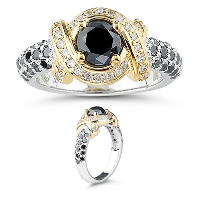 Black Stone 2.66 Carat  Solitaire With Accents Diamond Ring Solid Gold
