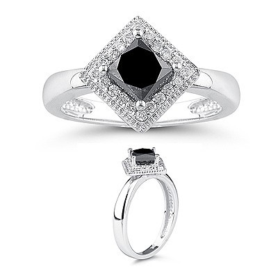 Enhanced Black Diamond 1.54 Carat Solitaire Diamond Ring Princess Cut Solid Gold