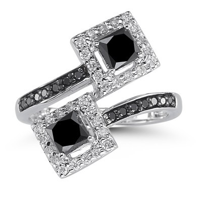Artistry Black Diamond 3.49 Carat Solitaire Ring wz Accent Princess Cut Solid Gold