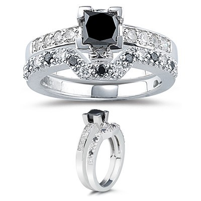 Black Diamond 2.60 Carat Solitaire Diamond Ring Princess Cut Solid Gold