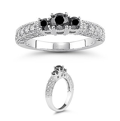 Black diamond Ring 3.93 Carat Solitaire wz Accent Round Shape Solid Gold