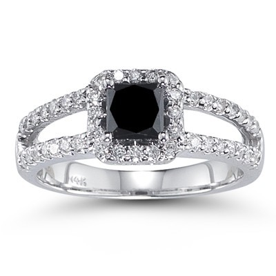 Black Stone 2.97 Carat Solitaire Black Dimaond Ring wz Accent Princess Cut Solid Gold