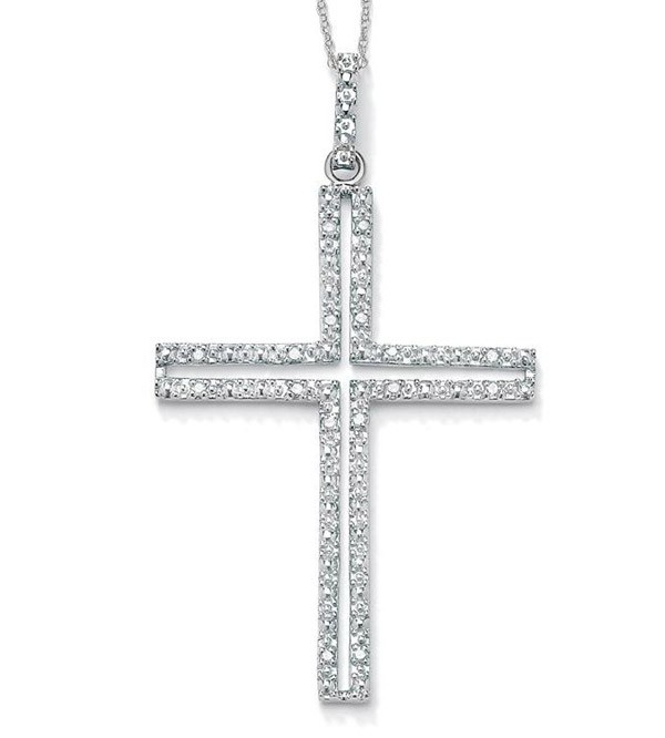 Religious Necklace Cross 1.10 Ct Diamodn Solid White Gold spiritual necklace Natural Certified